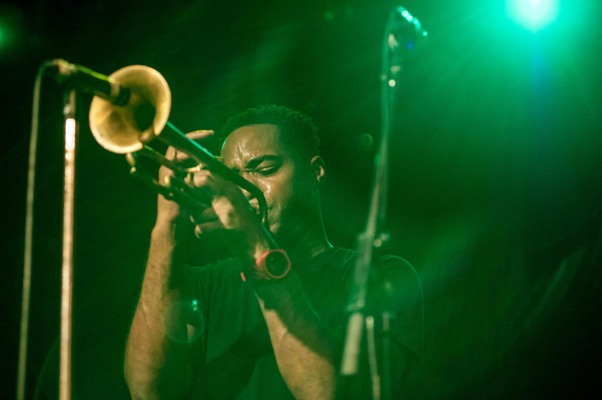 Trumpet player on stage