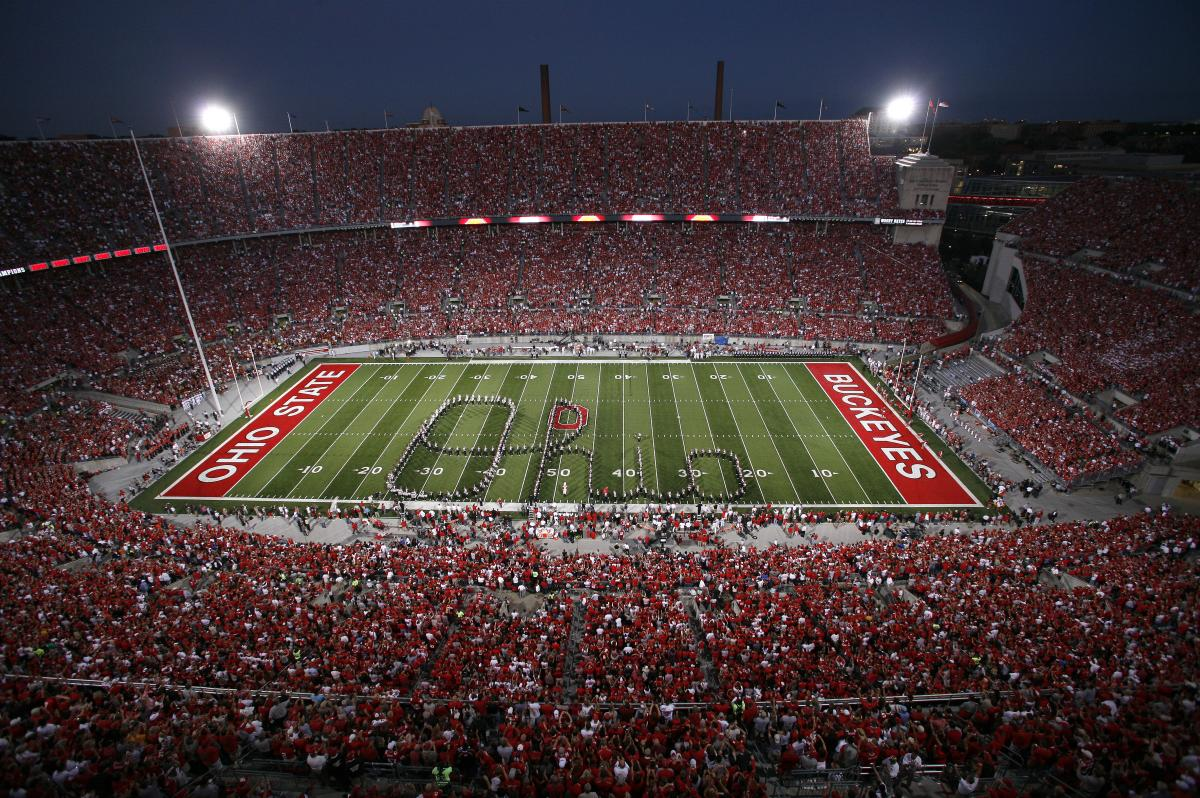 Ohio State Marching Band performs Script Ohio at The Shoe