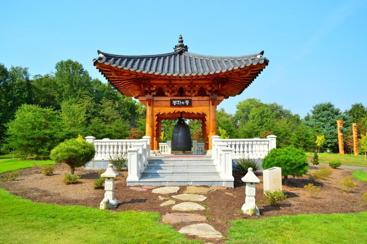spring view of Korean Bell Garden at Meadowlark Gardens