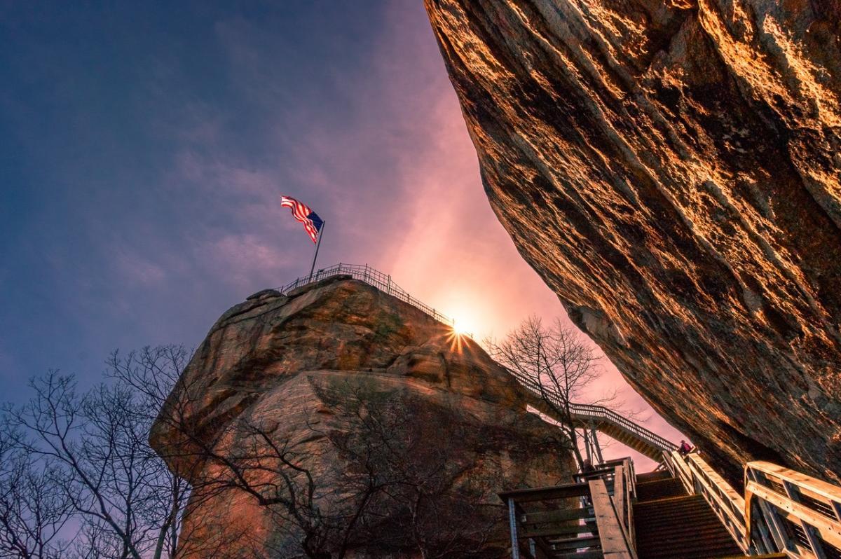 United States flag along the rocks at Chimney Sunset State Park