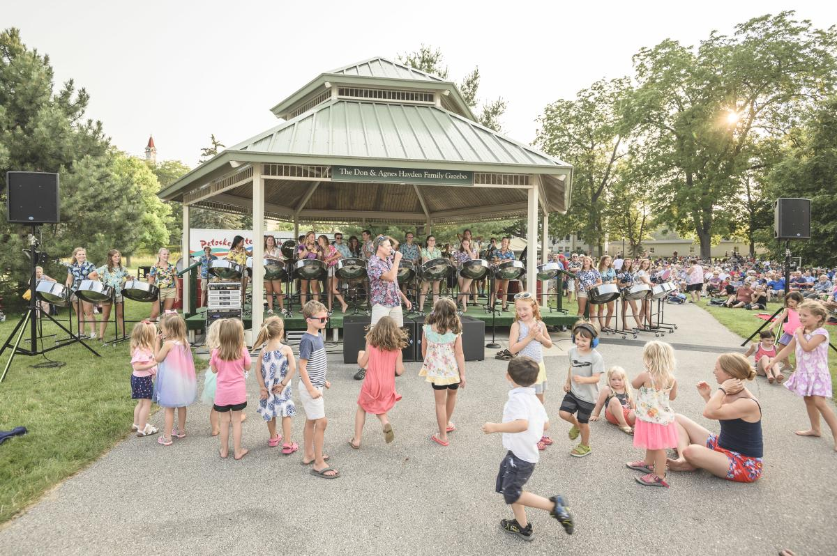 Kids Dancing at the Grand Traverse Pavilions Concert