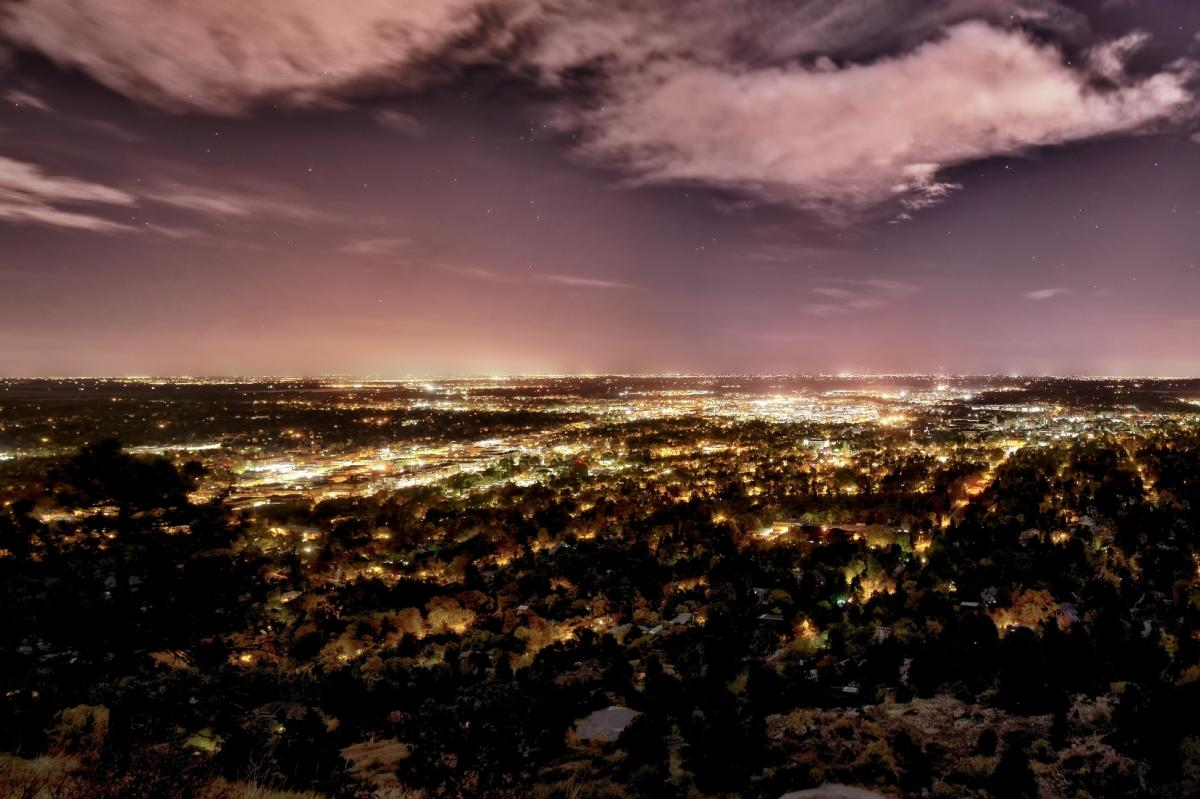 Flagstaff Mountain View of Boulder at night
