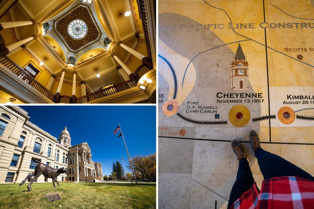 Interior and Exterior of the Wyoming State Capitol and the marble mural on the floor of the Cheyenne Depot Building in Cheyenne, Wyoming