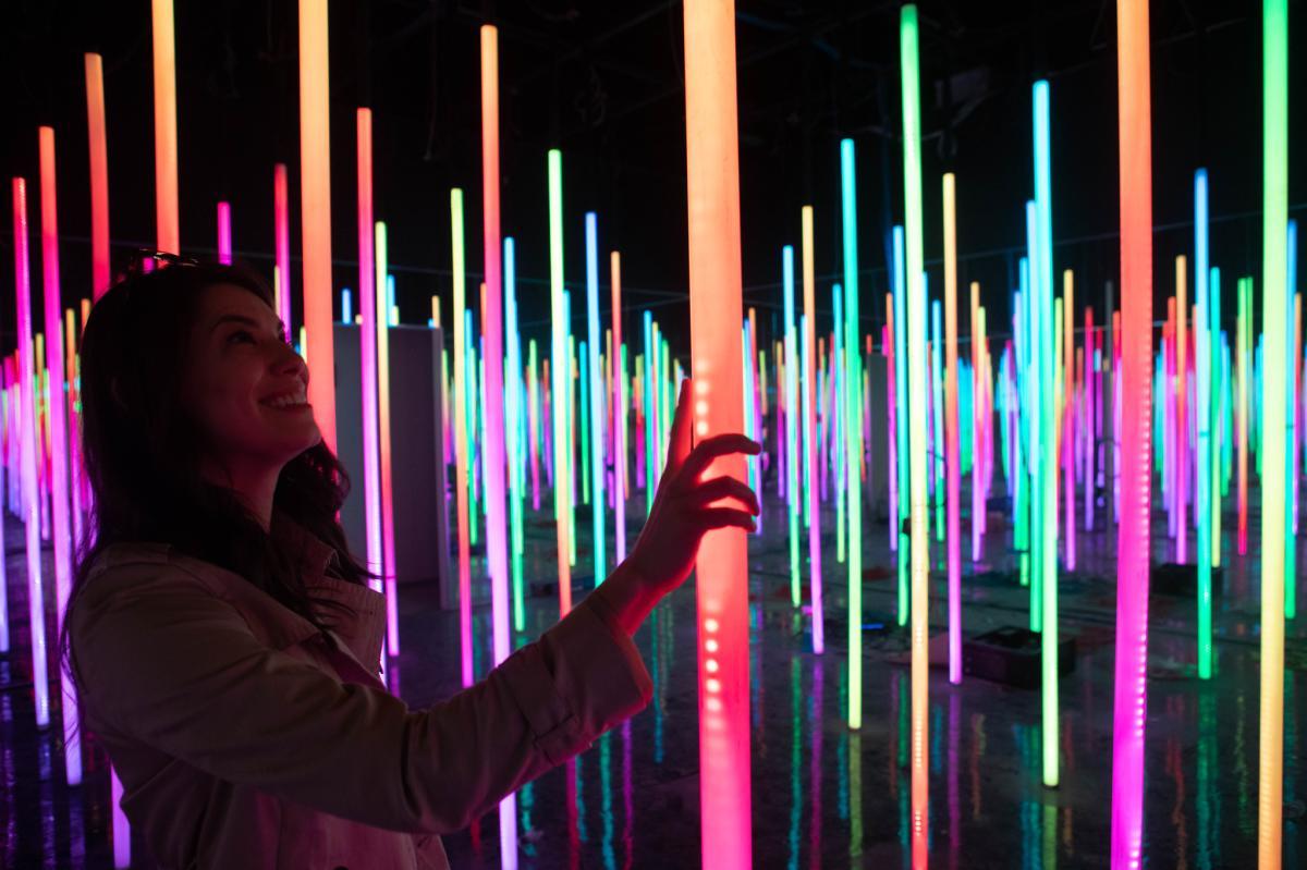 Interactive colorful LED light installation inside Otherworld exhibit
