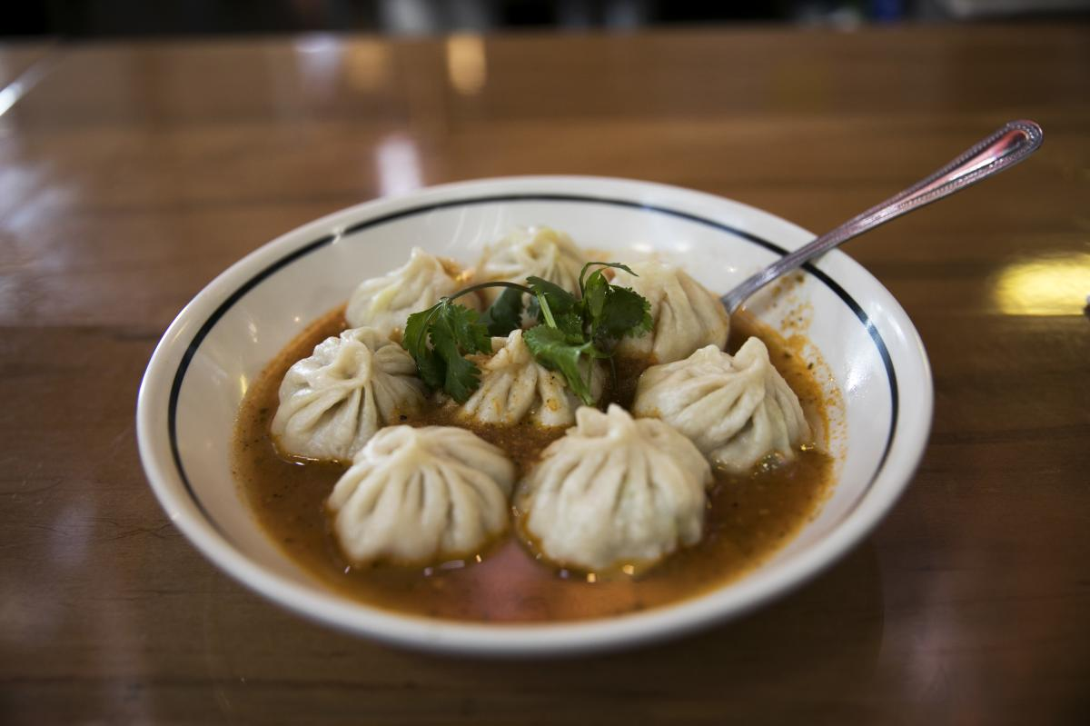Momos - Tibetan dumplings at Momo Ghar in the North Market