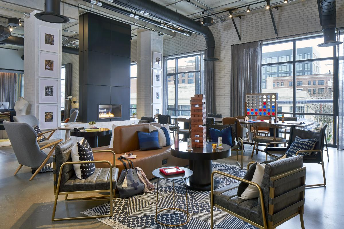 Lobby at the Moxy Hotel Short North offers ample games and seating