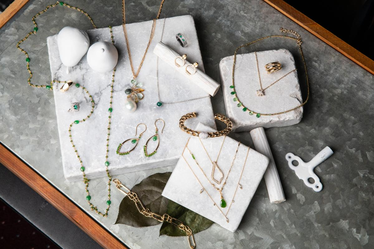 Green studded necklaces and earrings from Susan Bella Jewelry