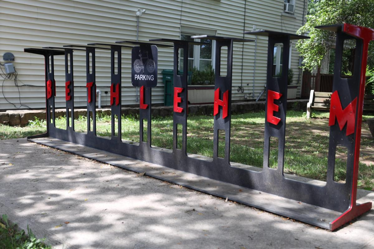 """I–Beam (Bike Rack) depicting steel beams, each which a letter that spells out """"Bethlehem."""""""