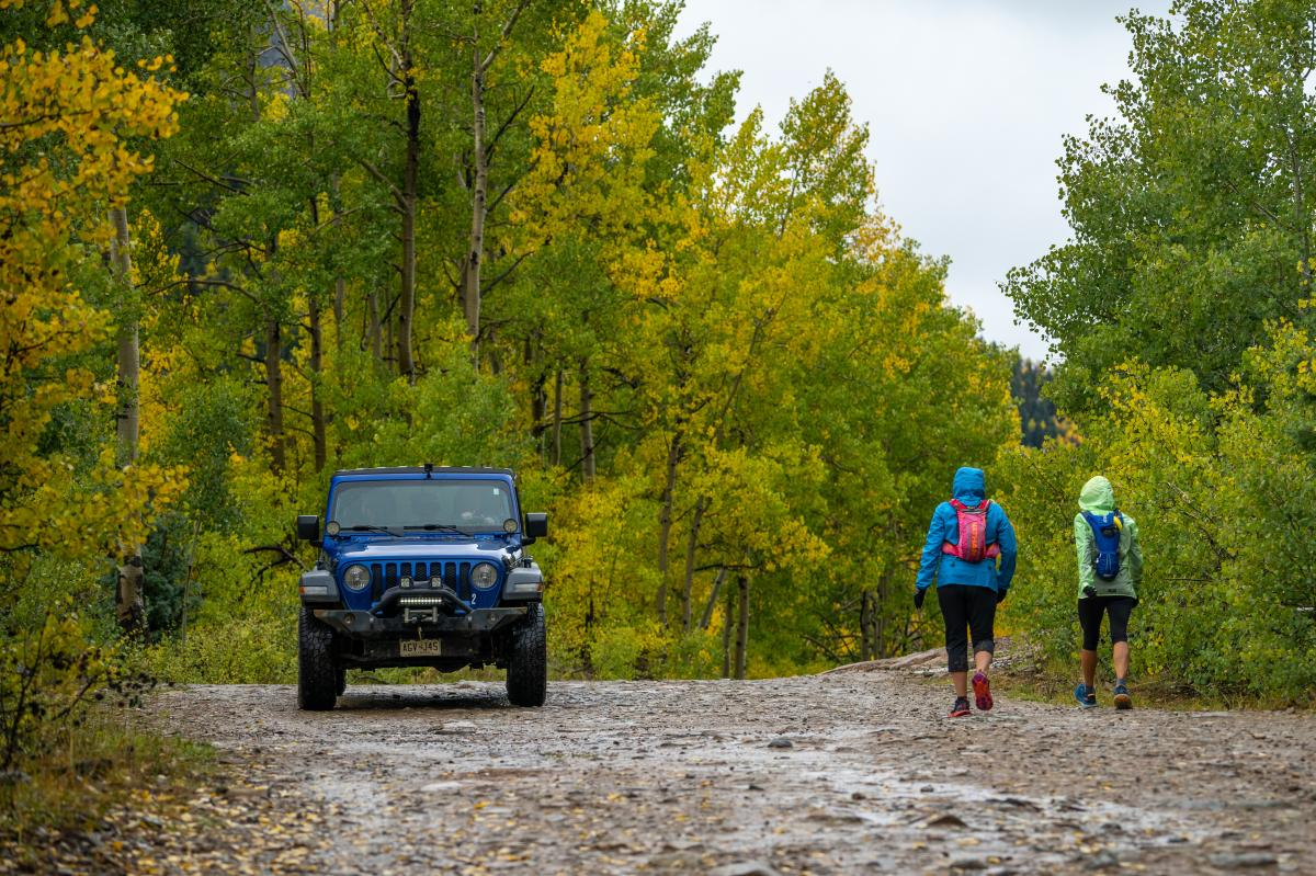 Sharing the Trail with Hikers While Jeeping, La Plata Canyon