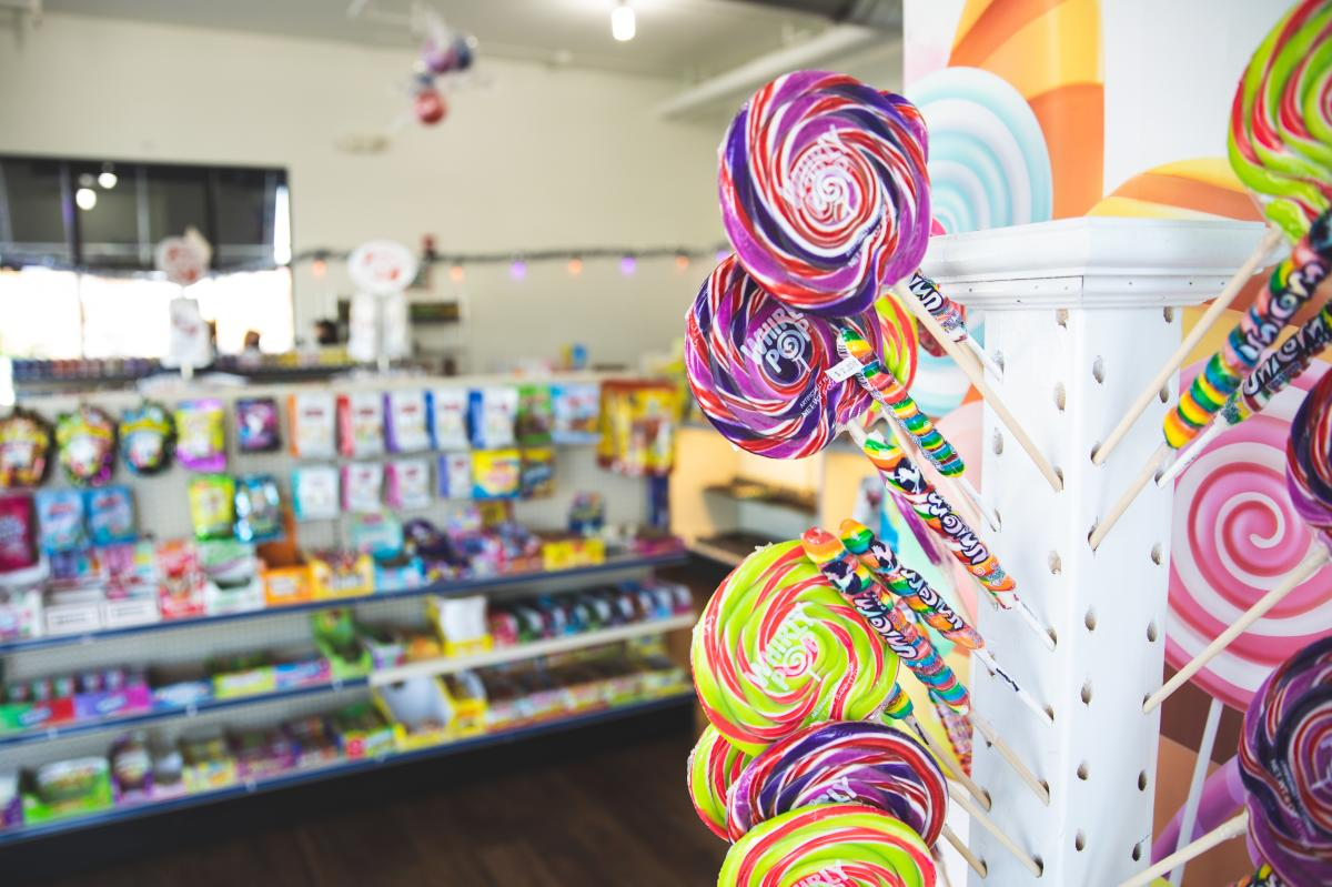 Lollipops for sale at Ifs & Buts Candy & Nuts in downtown Eau Claire