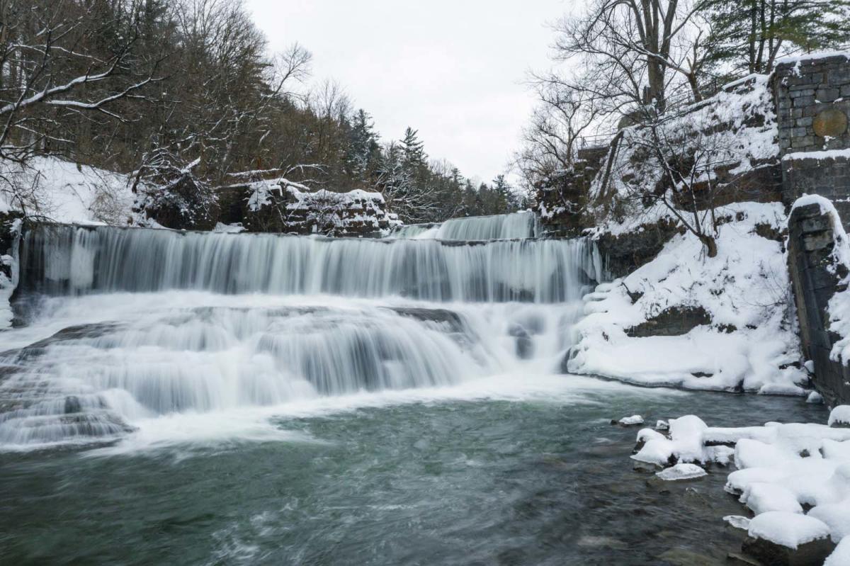 Seneca Mills waterfall on the Keuka Outlet Trail