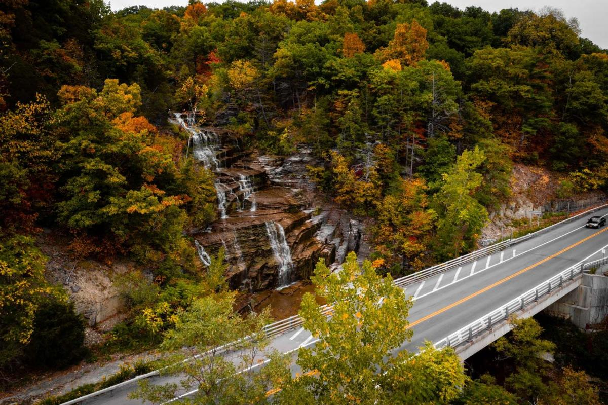 aerial view of Hector Falls on Route 414 along Seneca Lake