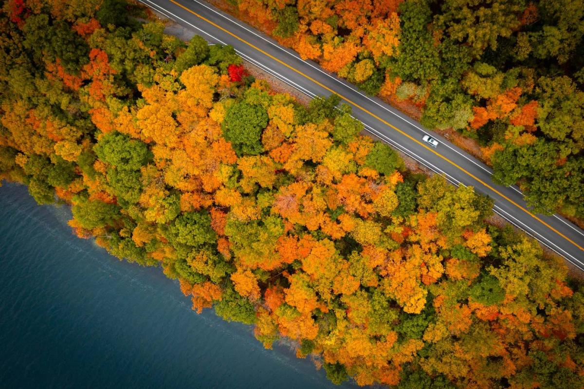 aerial view of the fall foliage driving around Keuka Lake in Finger Lakes Wine Country