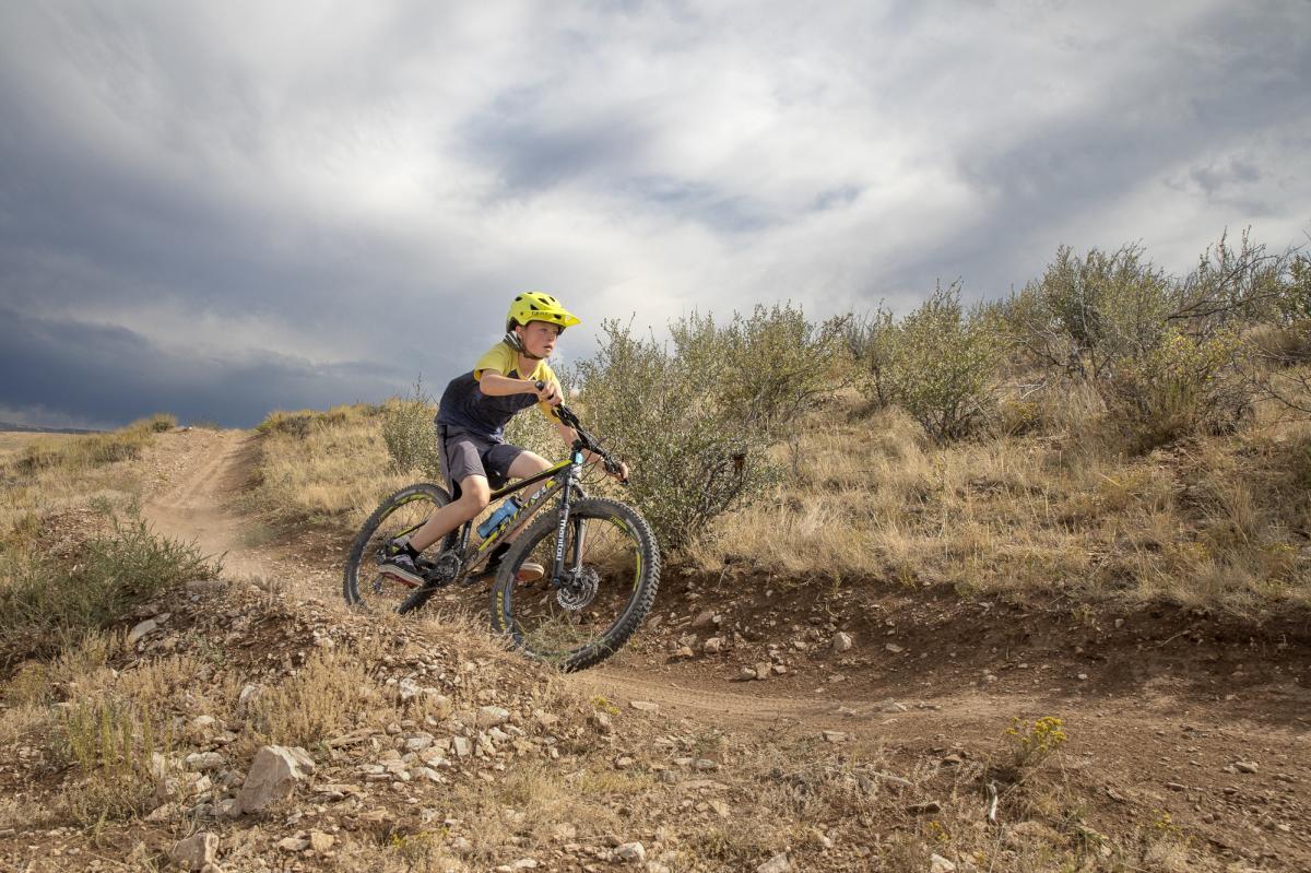 Child Mountain Biking in Pilot Hill Laramie, Wyoming