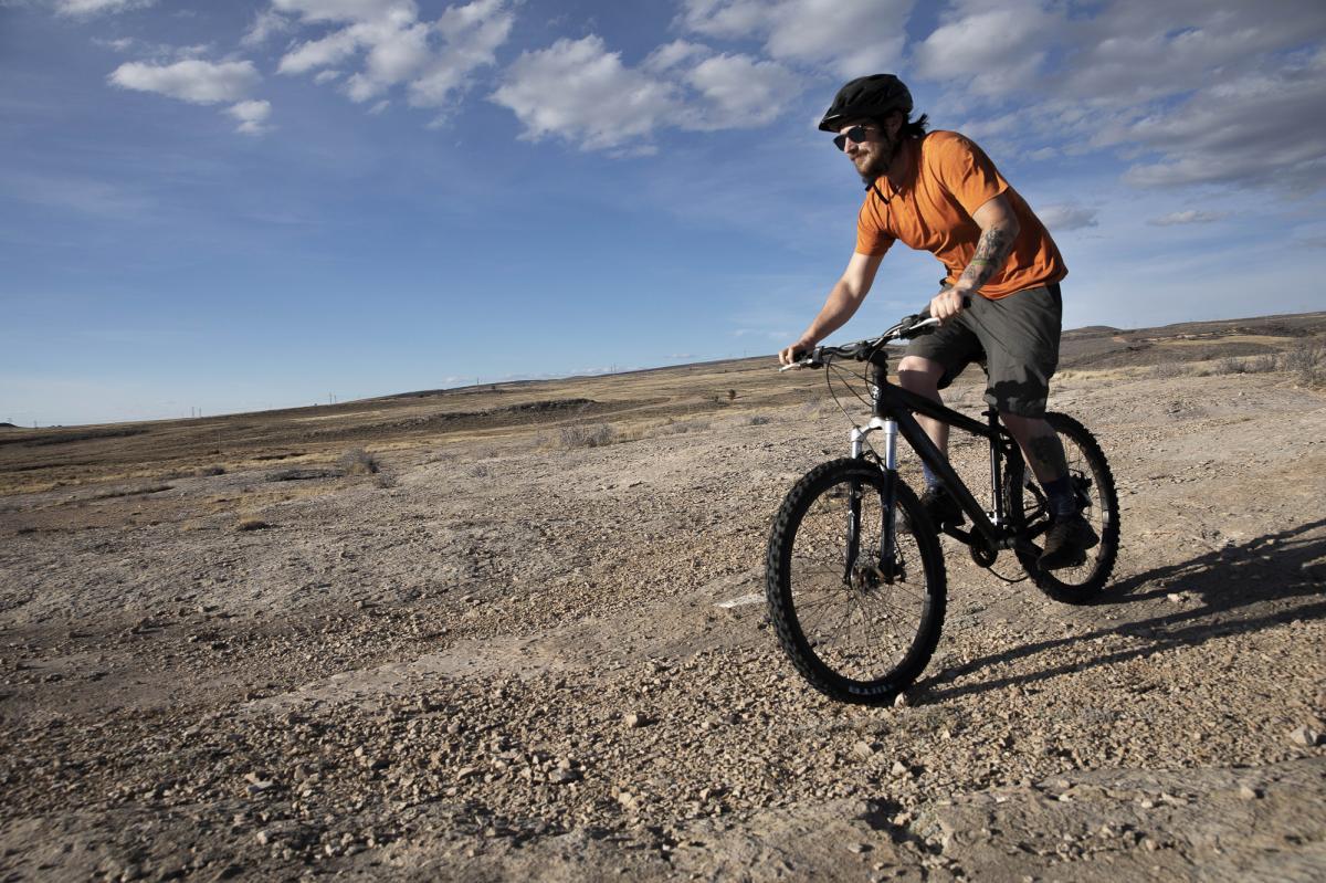 mountain biking on Pilot Hill downhill