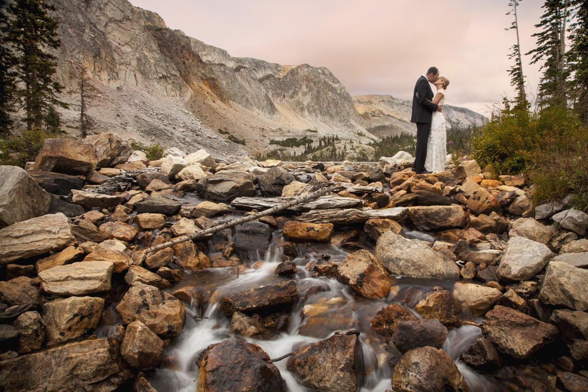 wedding elopement at Lake Marie in the Snowy Range of Wyoming