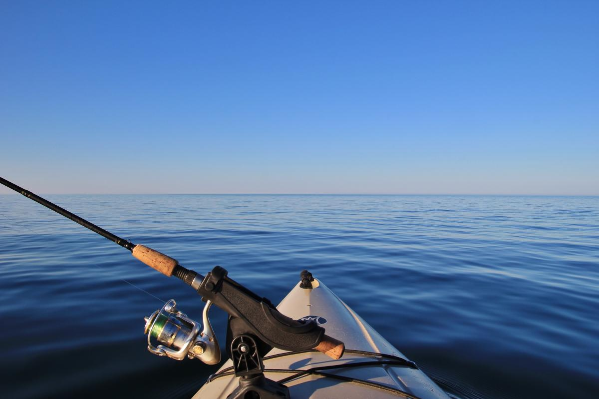 A fishing rig on a kayak out on Lake Superior