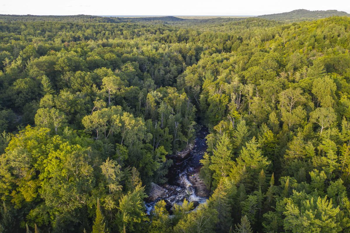 An aerial view of Yellow Dog Falls in rugged Big Bay, MI