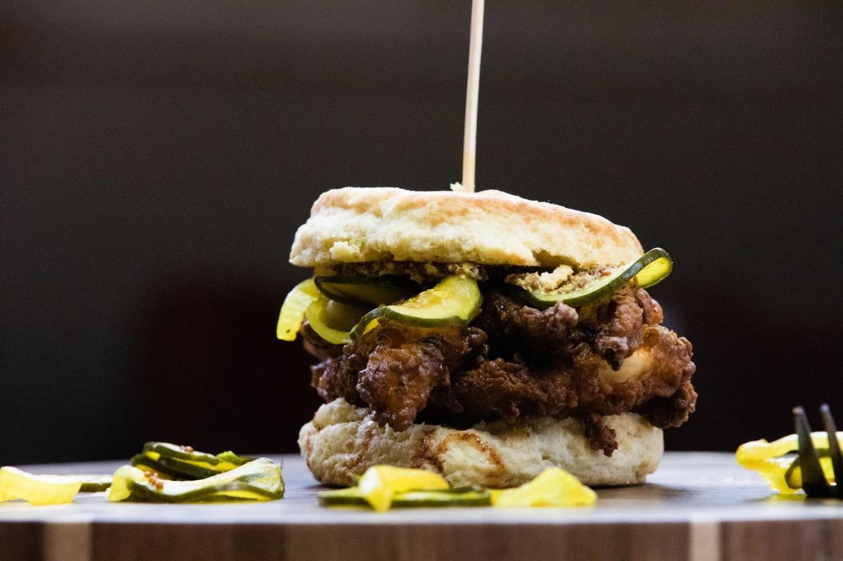 Indulgence Bakery & Cafe's boxcar chicken biscuit, New Mexico Magazine