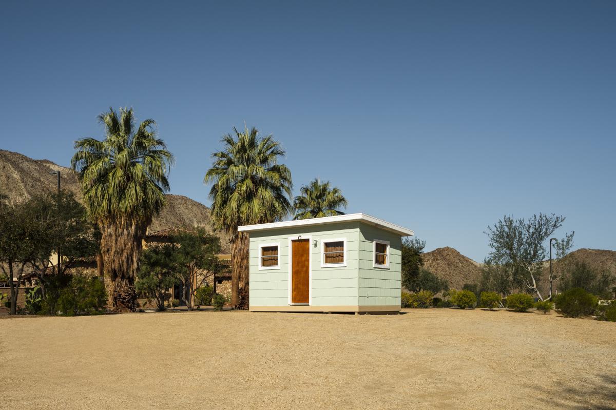 Desert X installation view of Kim Stringfellow, Jackrabbit Homestead