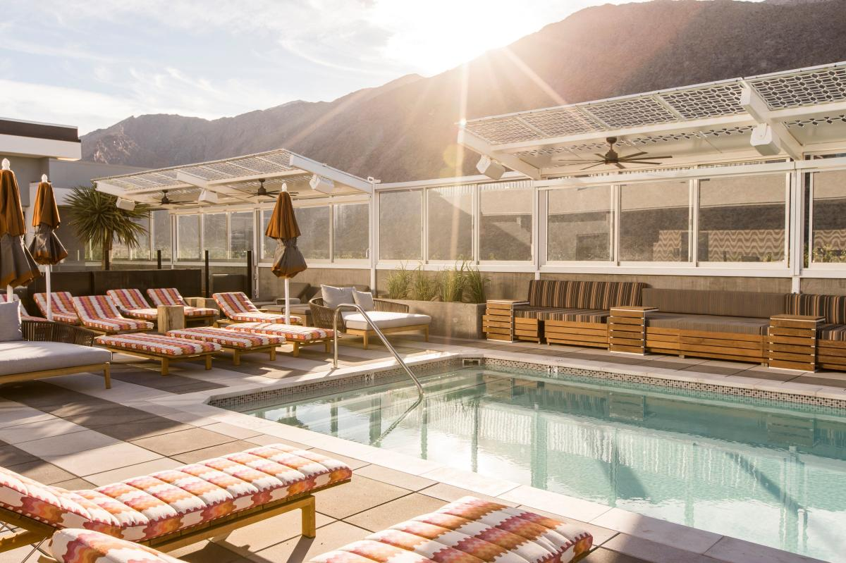 The rooftop pool at the Kimpton The Rowan in Palm Springs.