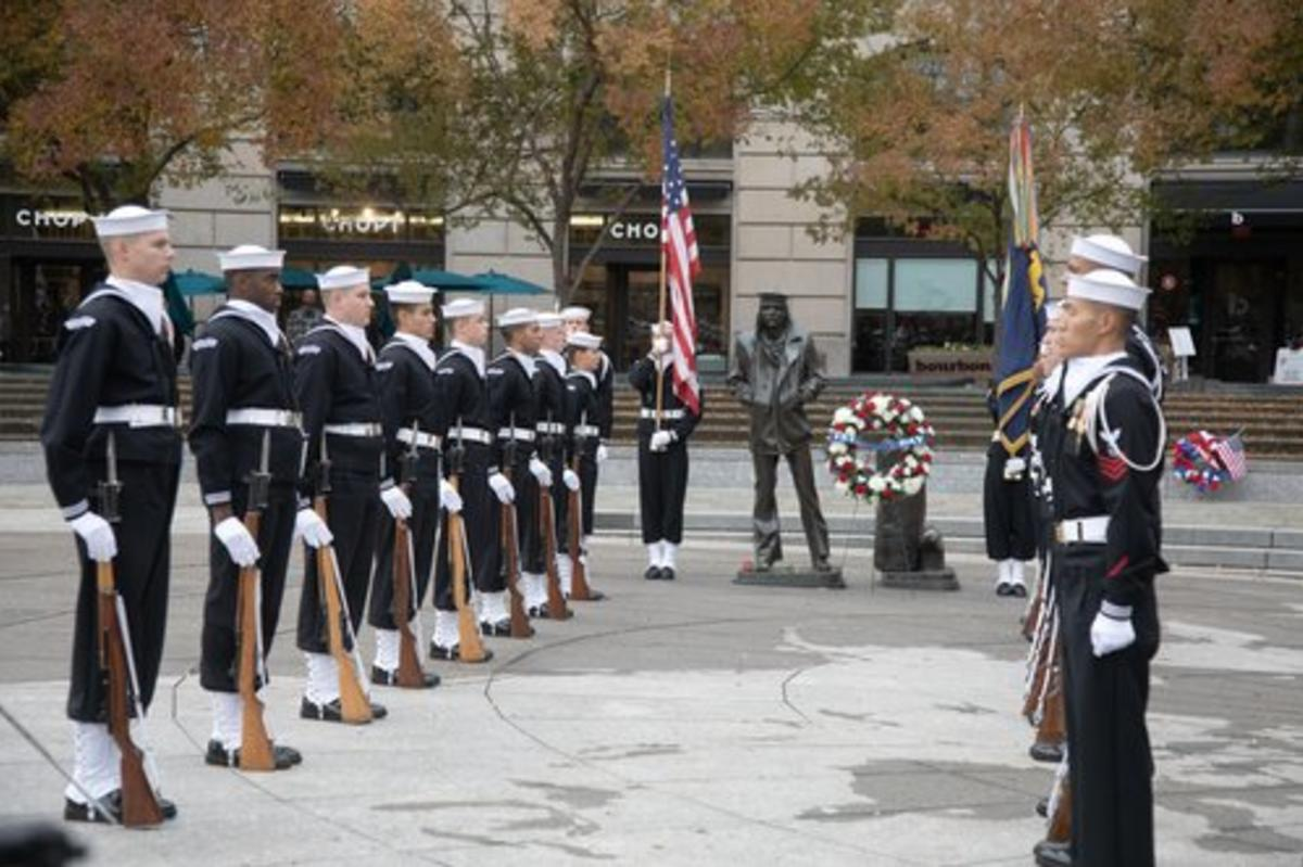 Soliders lined up for  United States Navy Memorial Wreath Laying Ceremony