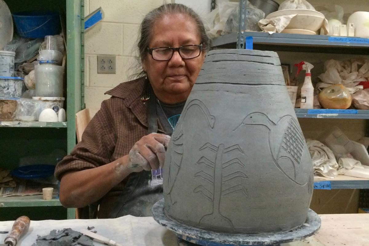 Hand-building pottery at Santa Fe Community College