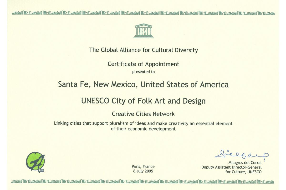 UNESCO Certificate