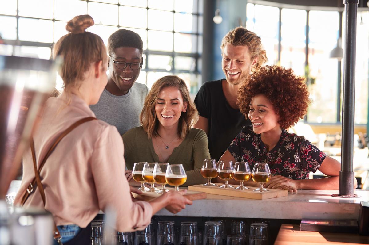 Group tasting beer