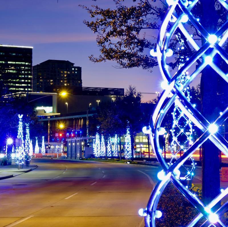 Uptown Holiday Lights on Post Oak Blvd, courtesy of Uptown Houston