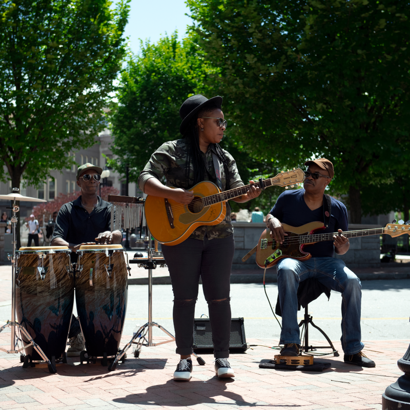 Lyric Busking Downtown with Band