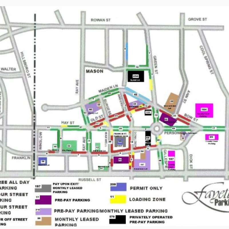 Downtown Fayetteville Parking Map