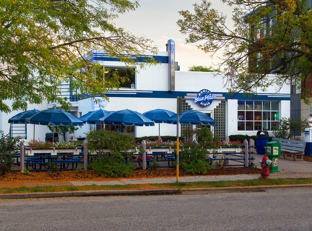 The outdoor patio seating area at Monty's Blue Plate Diner