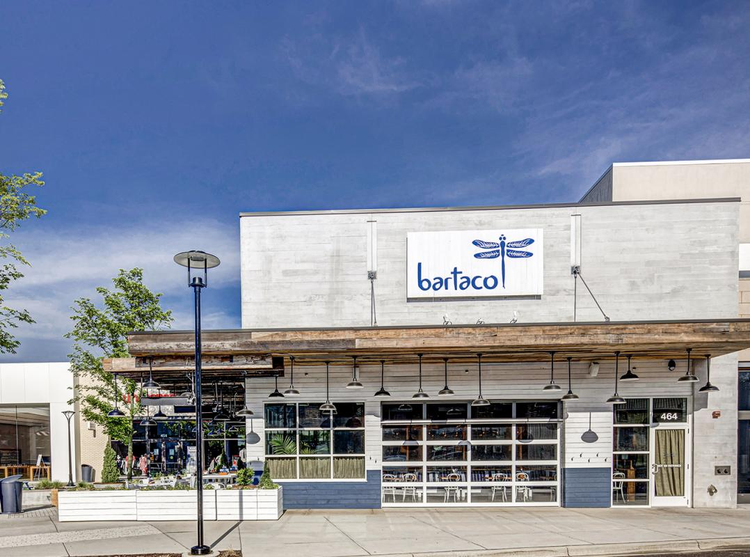 The front entrance to bartaco at Hilldale Shopping Center