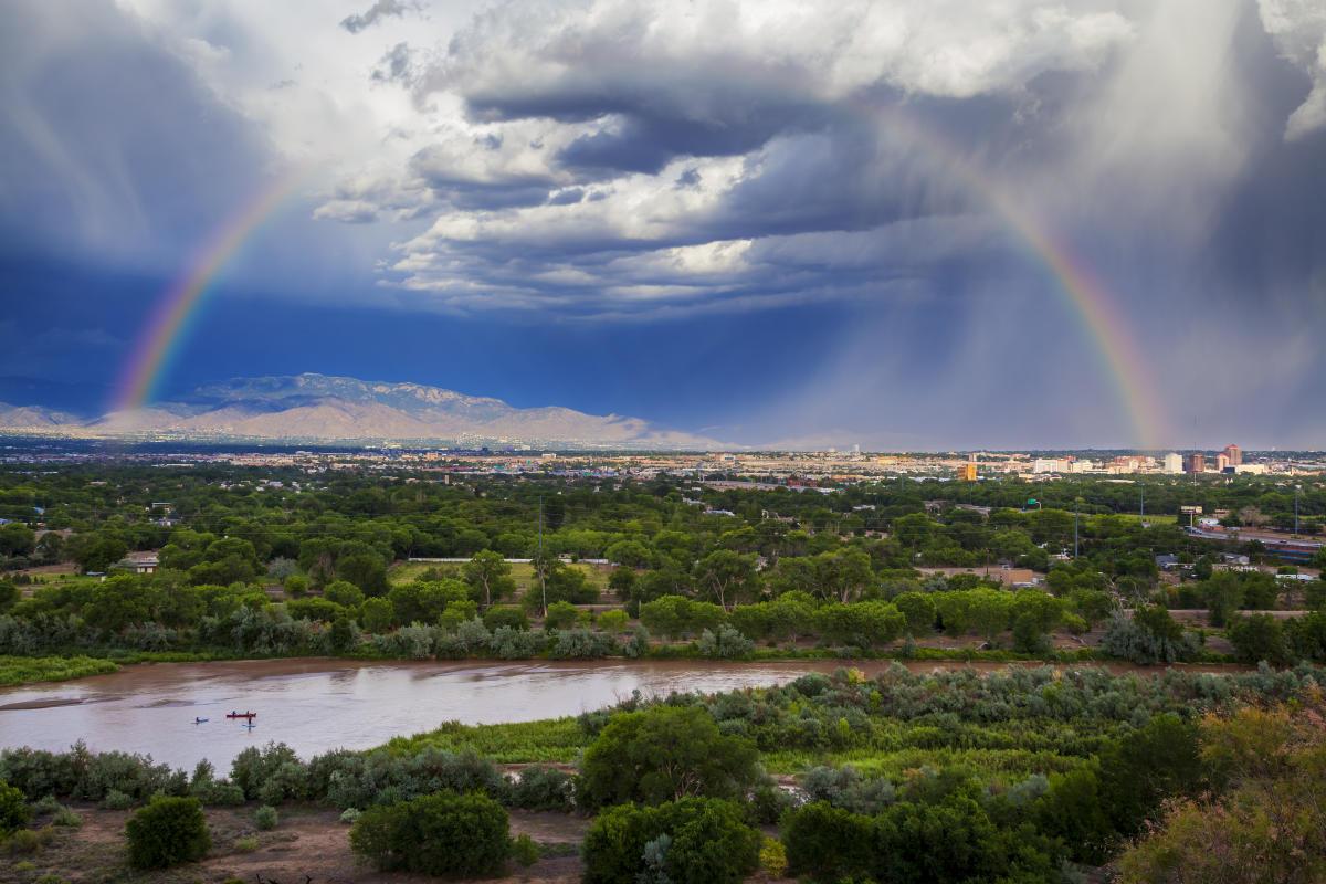 Rainbow over Sandia Mountains, Rio Grande, River, Sky