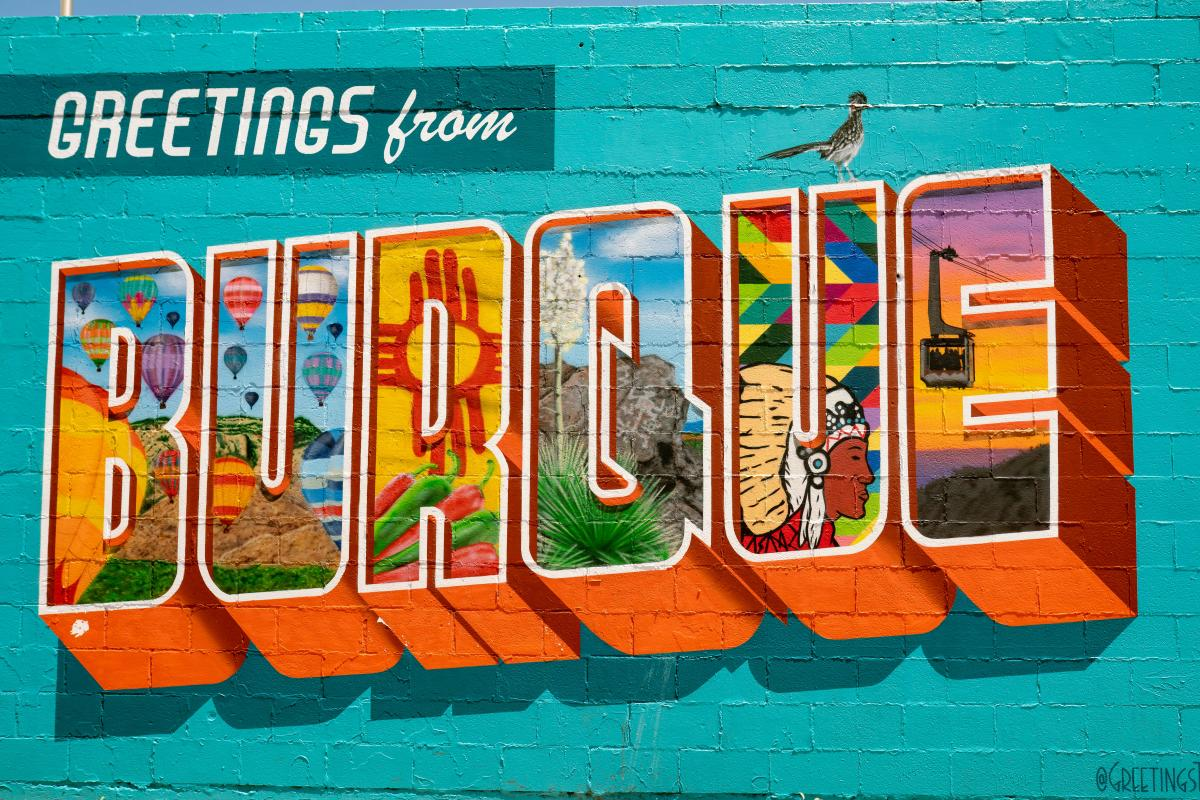 """Mural in Nob Hill of the word """"Burque"""""""