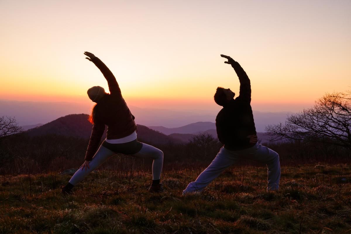 Yoga on a mountaintop near Asheville, NC