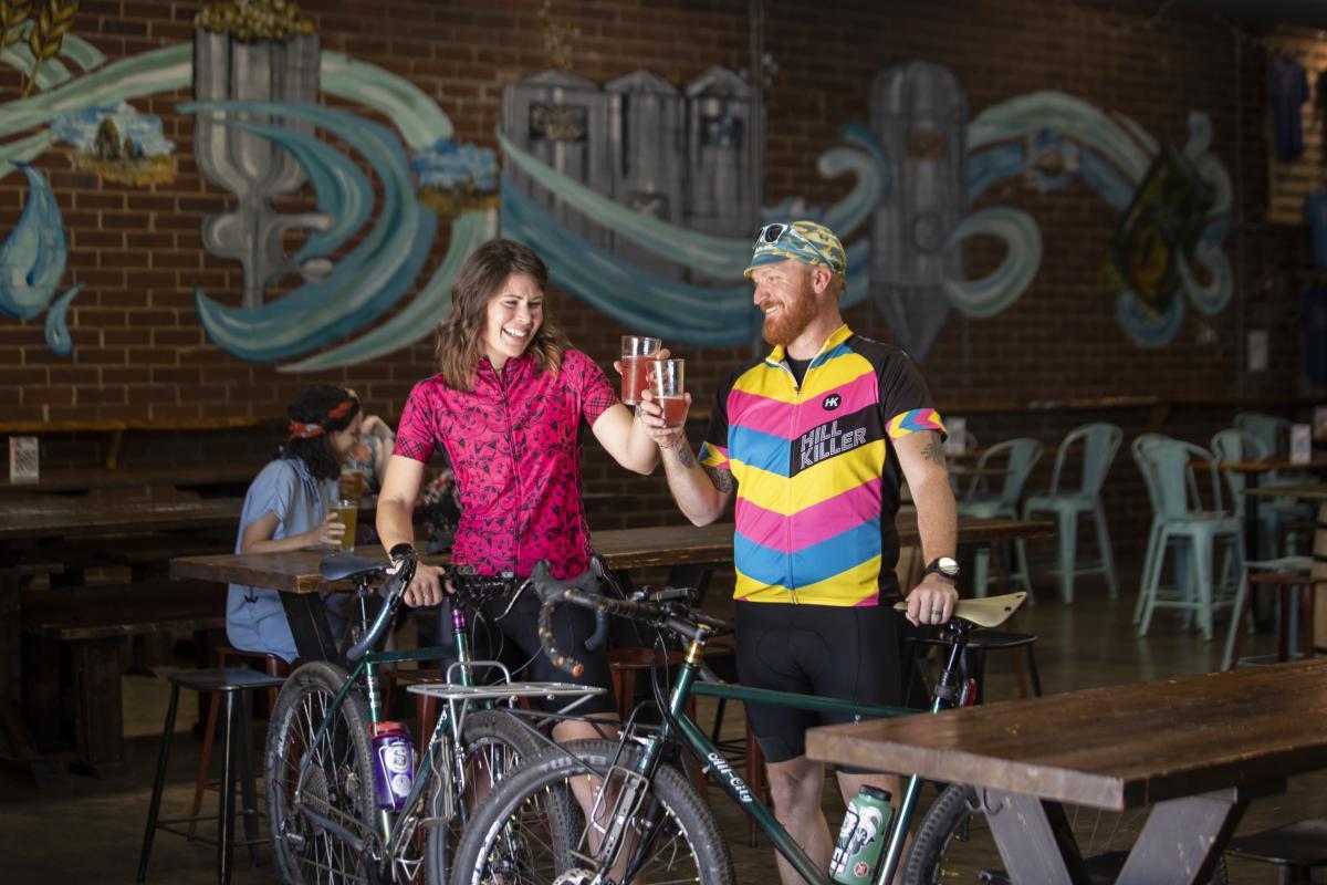 biking; beers; brews