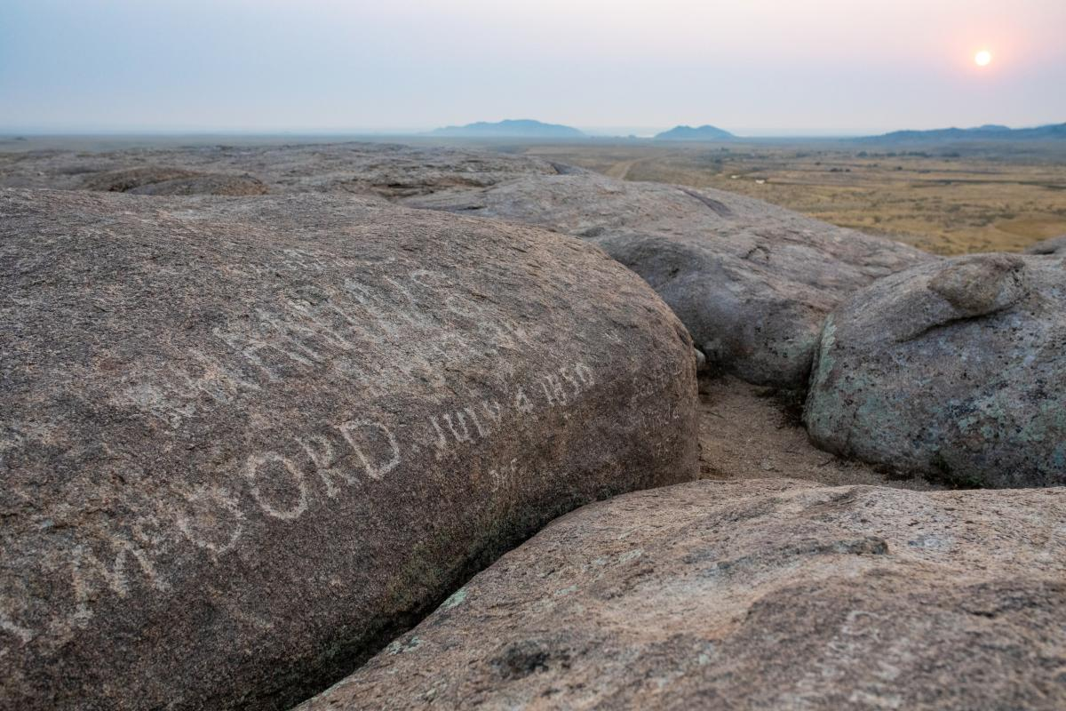 Names Carved Into Independence Rock, Wyoming