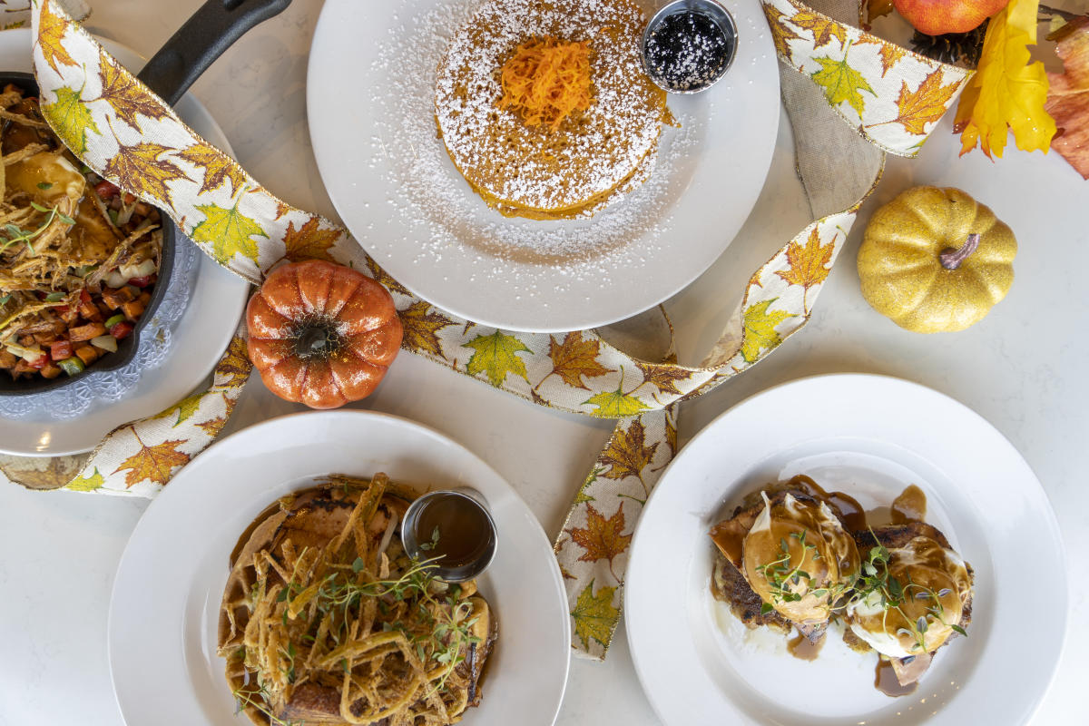 Hash Kitchen offers Thanksgiving-inspired brunch with poached eggs topped with a gravy drizzle or sweet potato pancakes.