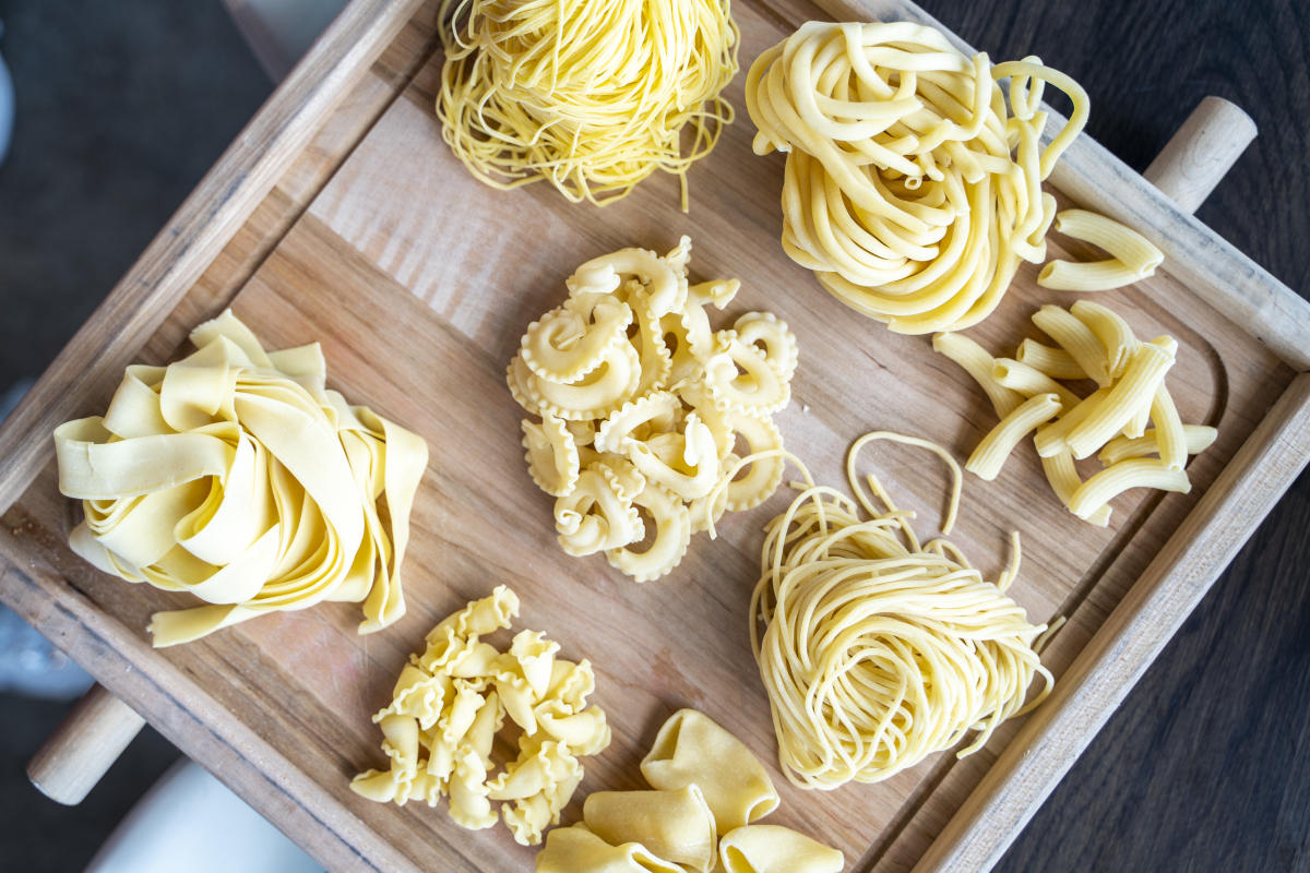 The Sicilian Butcher - Different types of fresh pasta on a cutting board