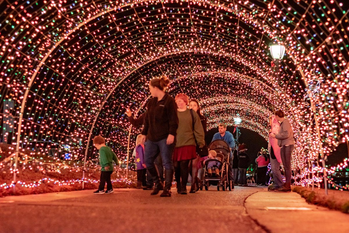 family walking through a light tunnel