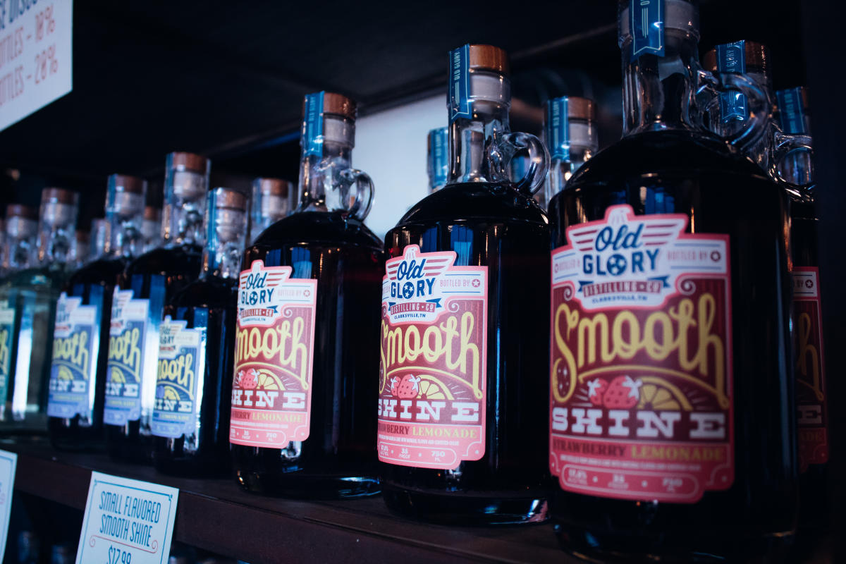 bottles of moonshine at Old Glory distilling