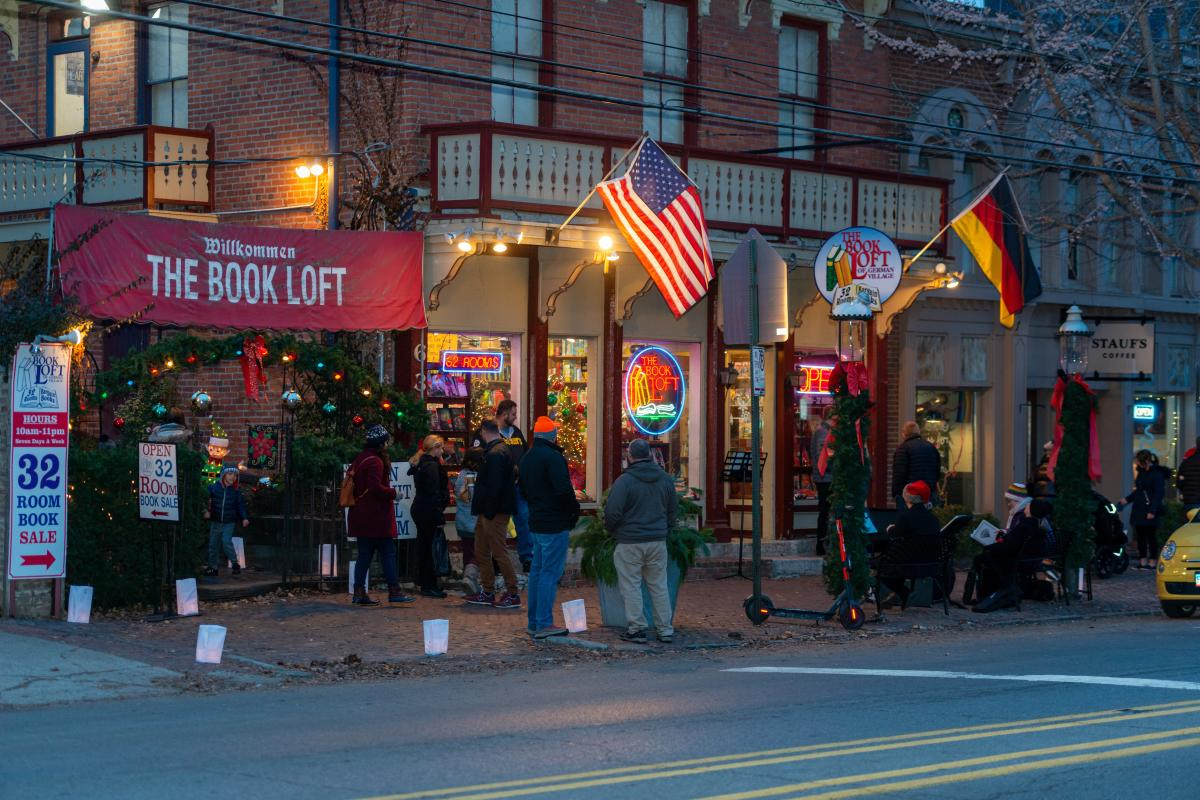 The Book Loft during Village Lights