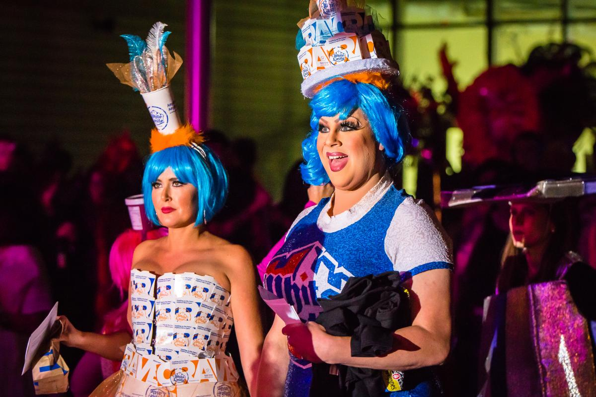Drag Queen Nina West and NBC4 News Anchor Monica Day dress in White Castle fashion at Highball Halloween