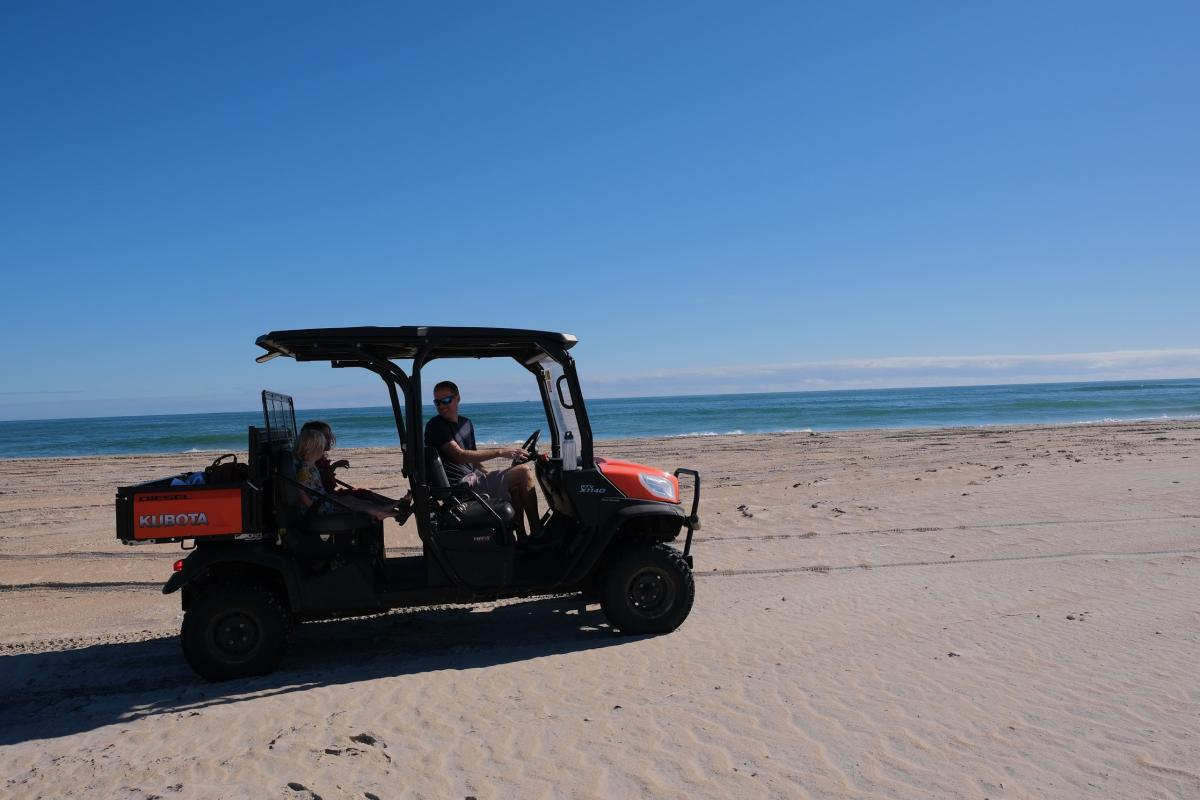 Visitors can rent Kubota UTVs to explore the coastline at Cape Lookout
