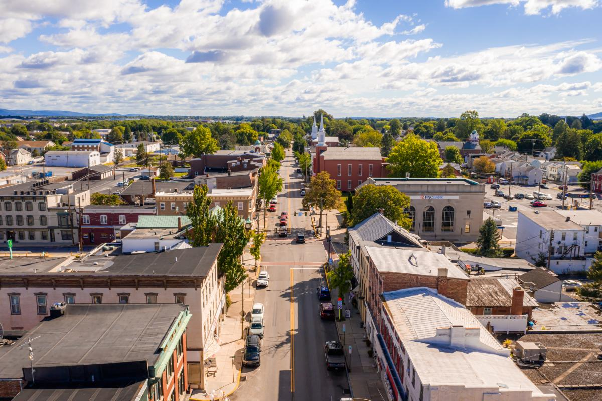 Aerial view of downtown Mechanicsburg PA