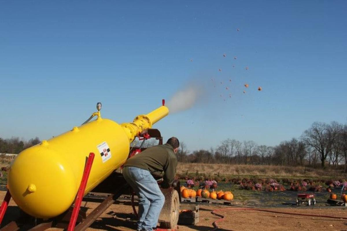 Man Firing A Pumpkin Cannon In The Cumberland Valley