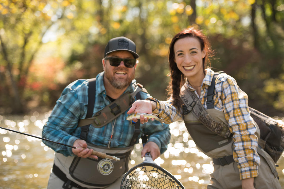 Couple Fly Fishing on Yellow Breeches Creek In The Cumberland Valley