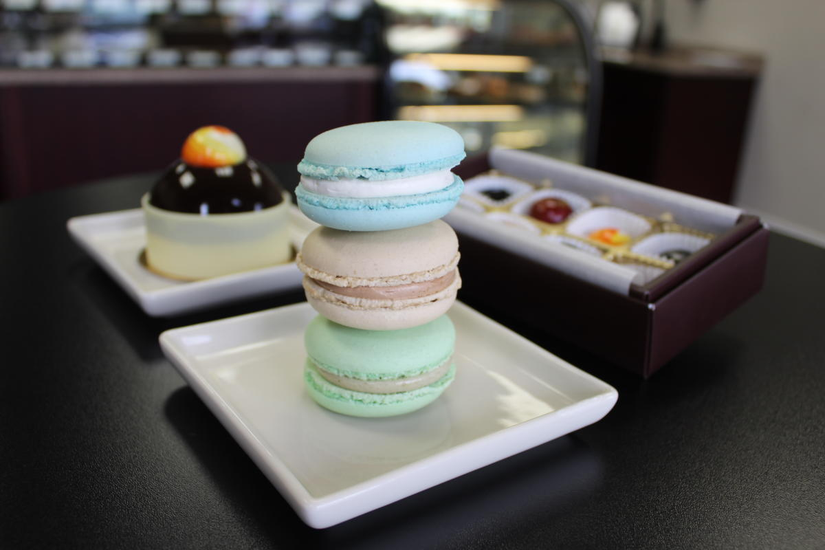 Macarons and chocolate pastries at Dolce Patisserie in Hellertown, Pa.